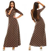 Платье женское длинное трикотажное в клетку P3731