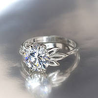 "Серебряное кольцо ""Кристалл"" белый"