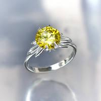 """Серебряное кольцо """"Кристалл"""" с желтым цирконием"""