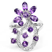 Аметист, серебро 925, кольцо цветочек