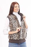 Жилет женский из искусственного меха, Леопард хаки (в розницу +70грн)