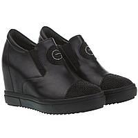 Туфли женские summergirl (на скрытой танкетке, с черными стразами на носке, модные, практичные, удобные)