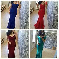 """Длинное Вечернее платье """"Саманта"""" (синее, красное, марсала, бирюза)"""