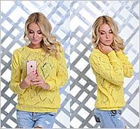 Женский свитер из ажурной вязки ромбиками m-904342