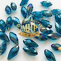 Бусина капля  6х12mm, Blue Zircon AB, 1шт