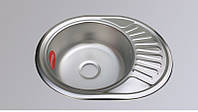 Мойка овальная для кухни врезная нержавейка Platinum D5745P толщина 0,6 мм Сатин (матовая)