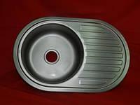 Овальная Big Мойка для кухни врезная нержавейка Platinum D7750 толщина 0,8 Декор (рефленая)