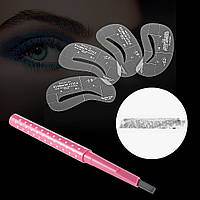 [ Карандаш для бровей Pencail ] Карандаш для макияжа бровей + набор трафаретов Серый, серый графит