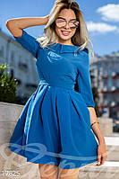 Очаровательное женское платье мини с завышенной талией и пышной юбкой в складку креп костюмка