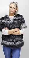 Жилет стильный из искусственного меха женский, Чернобурка(в розницу +70грн)