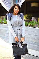 Женская кашемировая жилетка с искусственным мехом на плечах