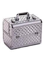 """Кейс для визажиста с выдвижными полочками """"Diamonds"""", серебристый"""