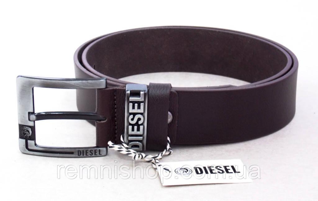 Кожаный мужской ремень для джинс Diesel коричневый