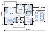 Дом имеет просторную гостиную с камином, выходом на террасу (Строительство+Проект) № 5,8