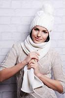 """Комплект. Вязанная шапка с помпоном и шарф """"Визит"""""""