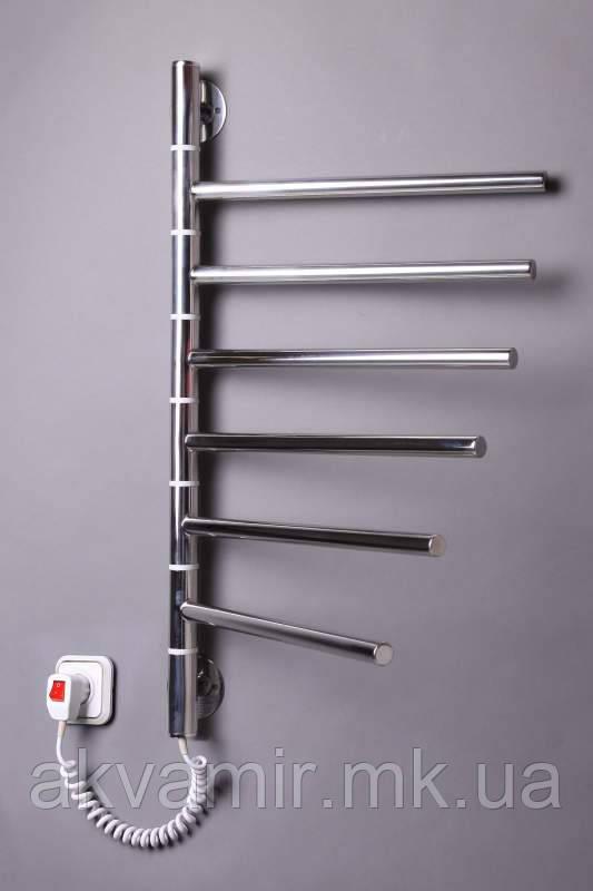 Полотенцесушитель Вертикаль-6 640х400 мм поворотный нержавейка с регулятором температуры