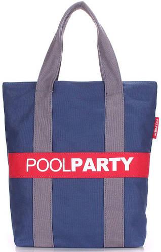 Легкая женская темно-синяя сумка POOLPARTY pool-82-darkblue-grey-red