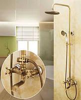 Душевой гарнитур со смесителем для ванной и тропическим верхним душем, бронзовой лейкой Deco бронза