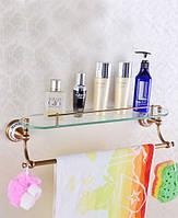 Полка со стеклом в ванную комнату бронза ( полочка для косметики стеклянная) Deco Бронзовая