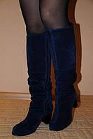 Синие замшевые сапоги, сезон осень или зима
