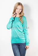 Кофта пуловер женская бирюза Роксолана р.46
