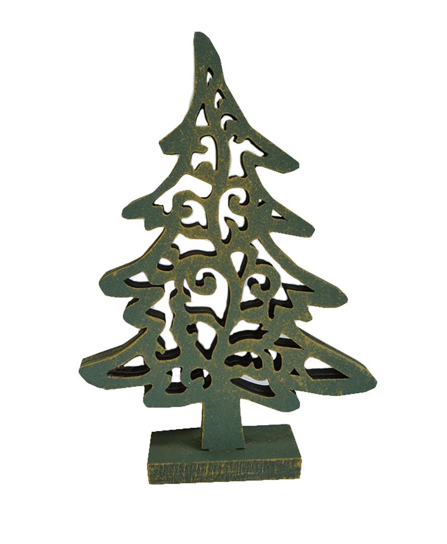 Декоративная игрушка Елка винтаж зеленая 13 см