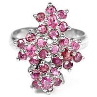 Рубин розово-красный, серебро 925, кольцо