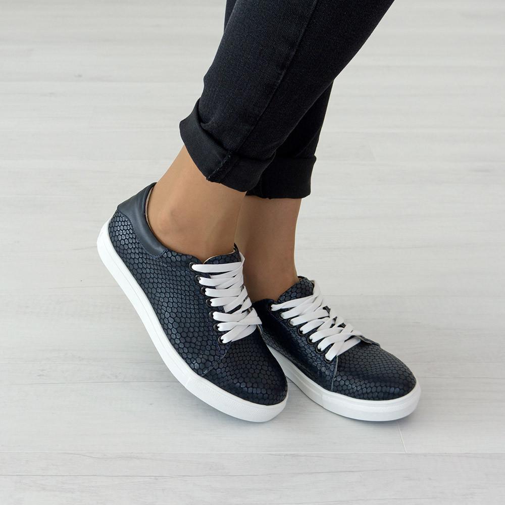 Кеды на шнуровке из натуральной кожи синие (O-737)