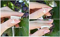 Двойное серебряное кольцо с бабочкой, фото 1