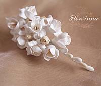 """Красивый подарок девушке. Заколка для волос  с цветами  """"Воздушный айвори"""". Свадебные украшения, фото 1"""