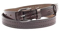 Женский тонкий кожаный ремешок коричневого цвета с перфорацией 2,5 см