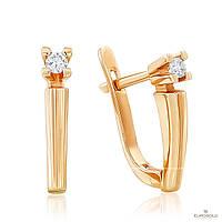 Эдем Золотые серьги c бриллиантом с7292
