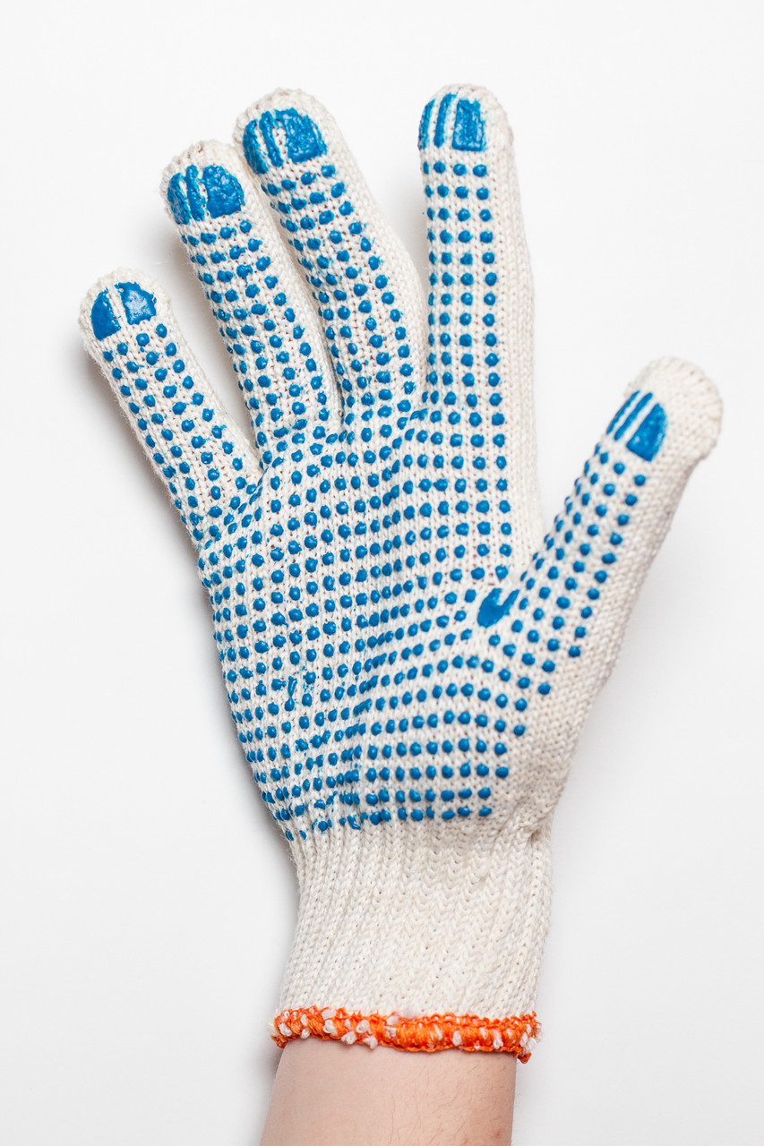 Перчатки рабочие 4 нити c ПВХ - точкой