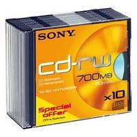 Диск SONY CD-RW 700MB 10X тонкий 1шт.