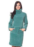 Теплое флисовое платье с карманом кенгуру