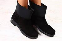 Ботинки демисезонные черные замшевые на байке и флисе р.37,40