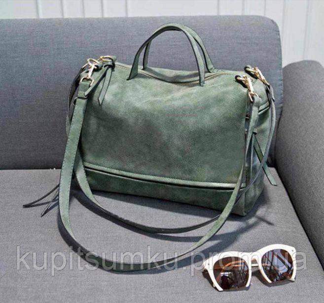 Стильная и молодежная женская сумка. Темно-зеленый