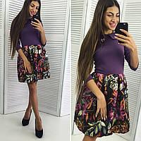 Платье женское с цветной юбкой 29- 074