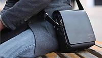 Мужская брендовая повседневная офисная модная стильная кожаная сумка KANGAROO KINGDOM, 19*17*7 Черный