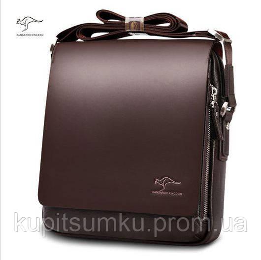 Мужская брендовая повседневная офисная модная стильная кожаная сумка KANGAROO KINGDOM, 19*17*7 Темно-коричневый
