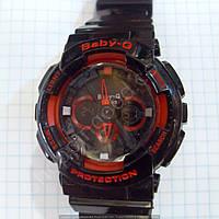 Детские часы Casio BabyG BGA-13018 (114291) черные с красным водонепроницаемые календарь подсветка