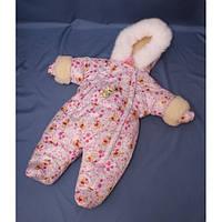 Зимний комбинезон для новорожденных (0-6 месяцев) белый Винни Пух, фото 1