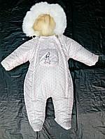 Зимний комбинезон для новорожденных (0-6 месяцев) Светло-розовый горошек
