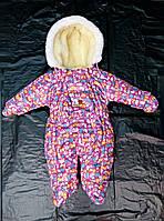 Зимний комбинезон для новорожденных (0-6 месяцев) Малиновый принт