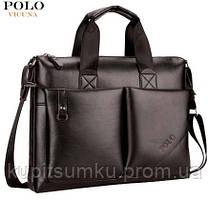 Стильная мужская сумка.Вместительный портфель для документов. Черный