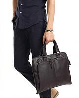 Стильная мужская сумка. Портфель для документов. Темно-коричневый
