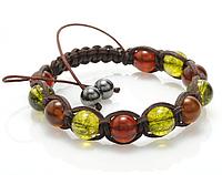 Кожаный браслет из янтаря и оливина shamballa