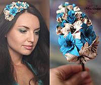 """""""Шоколадно-голубые гладиолусы"""" обруч/веночек для волос с цветами ручной работы . Подарок"""
