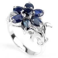 Сапфир, серебро 925, кольцо цветочек
