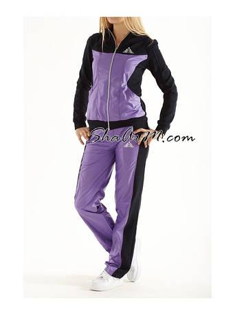 Спортивный костюм молодежный женский 1083 из двунитки и легкой плащевки размеры 42/44/46/48 s/m/l цвета Темно-